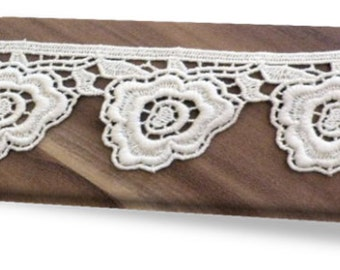100% Organic Cotton Lace, Natural, Undyed, Sold by the Yard, 47mm