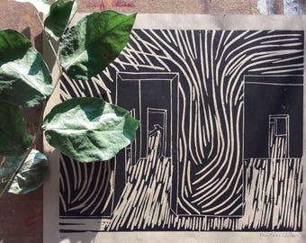 Lino print of architecture with organic lines/original and hand printed