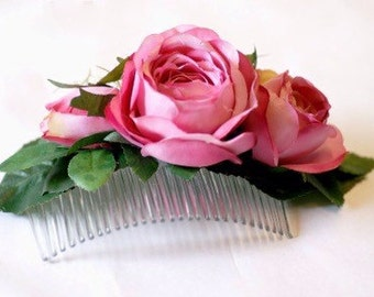 Rose faux flower comb
