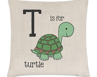 Letter T Is For Turtle Linen Cushion Cover