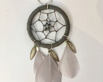 Woven Dreamcatcher necklace - Locket and grey feathers