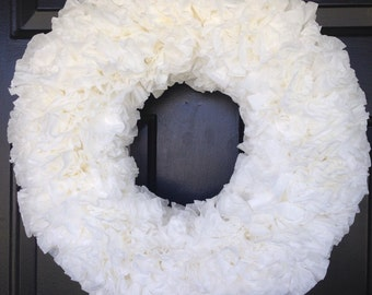 White coffee filter wreath