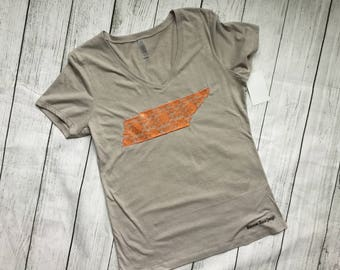 Ready to ship, Sale- Tennessee Lace state Shirt, Ladies V-neck Tennessee Shirt