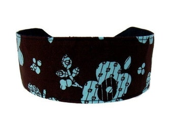 Bargain Headbands, Turquoise and Dark Chocolate Brown,  Perfect  Turquoise Flowers Over Brown, Beautiful Floral Headband