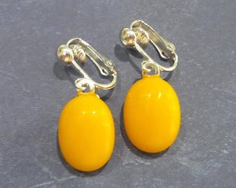 Tangerine Orange Clip On Earrings, Dangle Clip On Earrings, Dichroic Ear Clips, Clip Earring Jewelry - Kyndle -7
