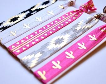 Aztec Hair Tie Set, Creaseless Hair Elastics, Boho Hair Ties, Cactus Hair Ties, Hot Pink, Pink Hair Elastics, Fiesta Hair Ties