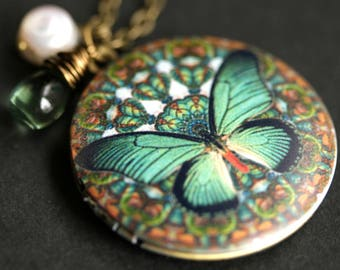 Teal Butterfly Locket Necklace. Teal Green Butterfly Necklace with Glass Teardrop and White Pearl Charm. Photo Locket. Bronze Necklace.