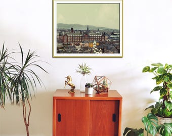 Edinburgh Print, Europe Photography, Skyline, City Print, Architectural Art, Scottish, Travel Print, City Wall Art