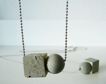 Concrete and silver necklace