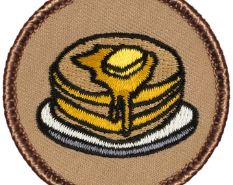 Pancakes Patch - 2 Inch Diameter Embroidered Patch