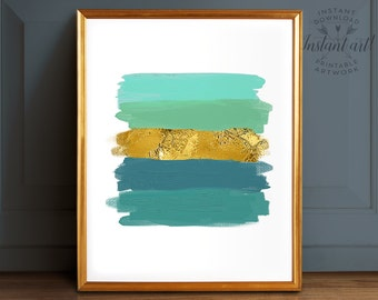Abstract art, Teal wall art, PRINTABLE art, Teal and gold, Brushstroke print, Minimalist print, Modern decor, Glam decor, Abstract print