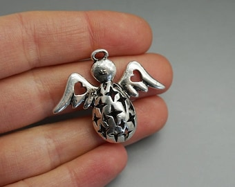 large pendant 3.3 cm (B03) silver angel wing charm