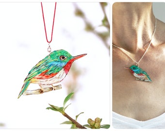 Necklace bird, illustration bird, hand-drawn pendant, Cuban Tody, tody necklace, drawn jewelry, green red, one of a kind, bird jewelry