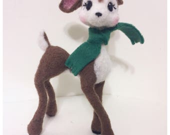 Felted Deer Soft Sculpture OOAK Reindeer Bambi Disney Inspired Poseable Deer Figurine