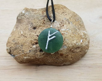 FEHU Norse Rune jade necklace. Rune symbol for Prosperity. Nephrite Jade pendant. Green Reiki jewelry uk. 12th anniversary gemstone