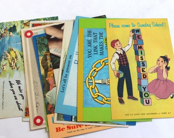12 Vintage Church, Sunday School, Rally Day Postcards - Vintage Used Religious Postcards