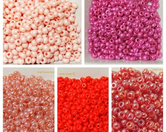 Size 6 seed beads Solid colors 25 grams Dusty Pink, Metallic Hot Pink, Tran Cranberry, Bright Red, Tran Red Iris Choice