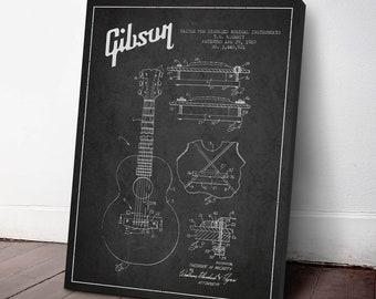 1969 Gibson Guitar Patent Canvas Print, Guitar Print, Guitar Art, Wall Art, Home Decor, Gift Idea, MUIN29C