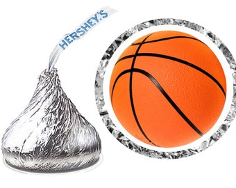 216 ~ BASKETBALL Birthday Party Hershey Kiss Kisses stickers Labels ~ Free Shipping