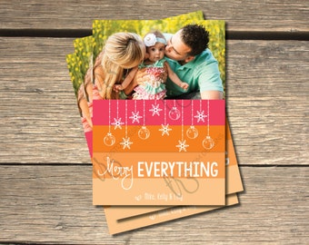 Merry Everything Pink and Orange Holiday Photo Card- 5x7