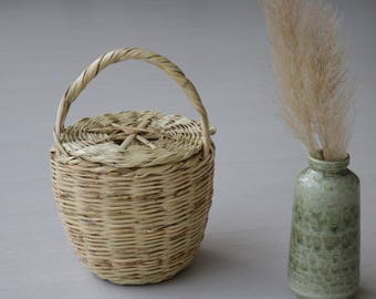 Jane Birkin Basket, Large size, basket with lid, Handwoven Birkin Basket, cane, Round Basket, Basket Purse, panier rond, cesta jane birkin.