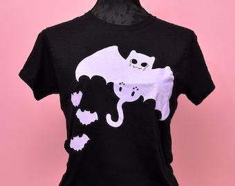 Pastel goth T-shirt - bat cat lilac gothic print - ladies fitted cute creepy cute aesthetic kawaii halloween T-shirt