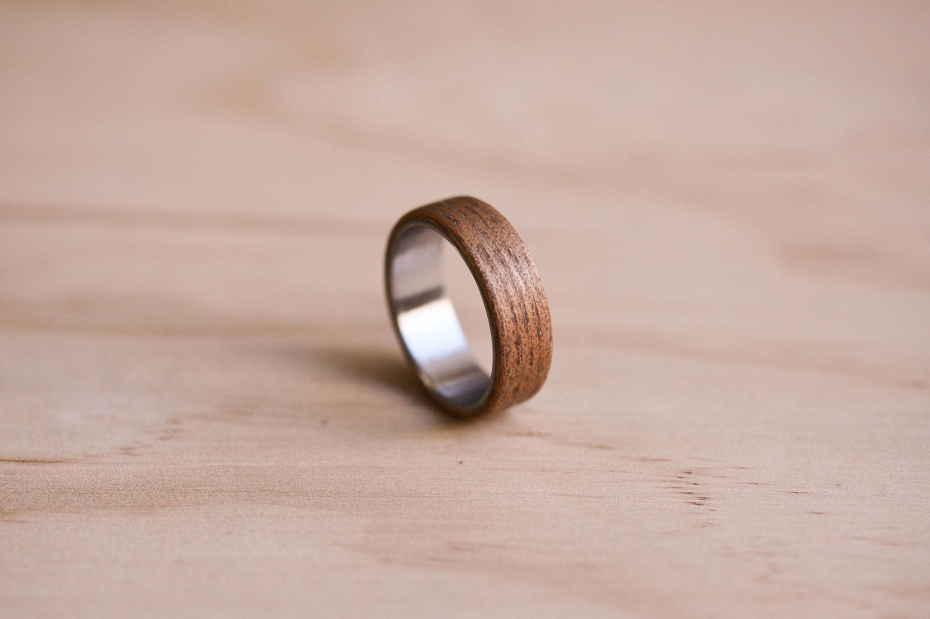 English Elm Bentwood Ring with a Stainless Steel Liner