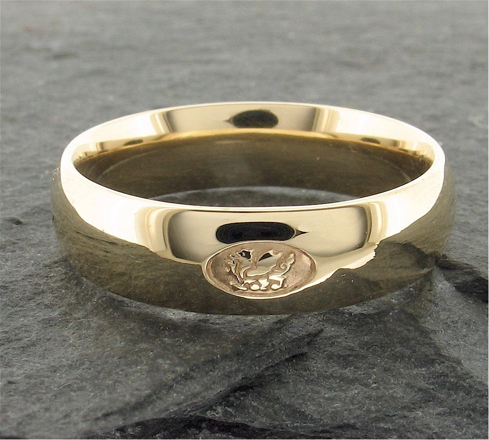 Welsh Wedding Ring: Wedding Ring Welsh Dragon Handmade Court Style In 9ct Yellow