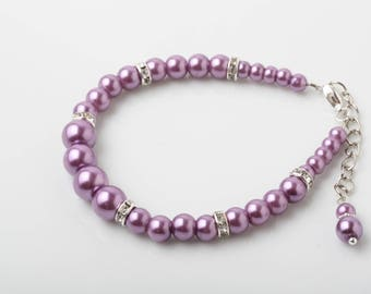 Purple pearl Bracelet, Purple bridesmaid bracelet, Purple Wedding jewelry, Mother of the Bride Gift, mother of the groom gift, orchid purple