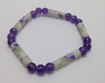 Bracelet acrylic and Amethyst beads