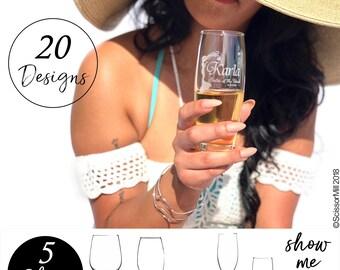 Wedding Champagne Flutes, Stemless Champagne Flutes, Bridesmaid Flutes, Etched Wedding Flutes, Personalized Stemless Champagne Flutes