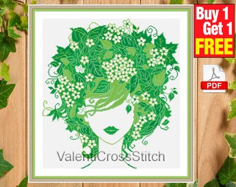 Lady Spring Cross Stitch Pattern, Modern Cross Stitch, Pattern, Chart, Spring, Green, #sp 182