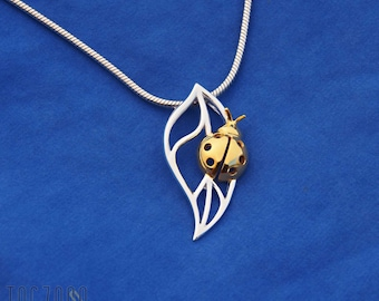 Ladybug Pendant   925 Sterling Silver   Gold Plated   Free gift Box