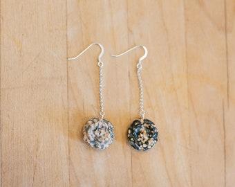 Carved Ocean Jasper Flower Earrings