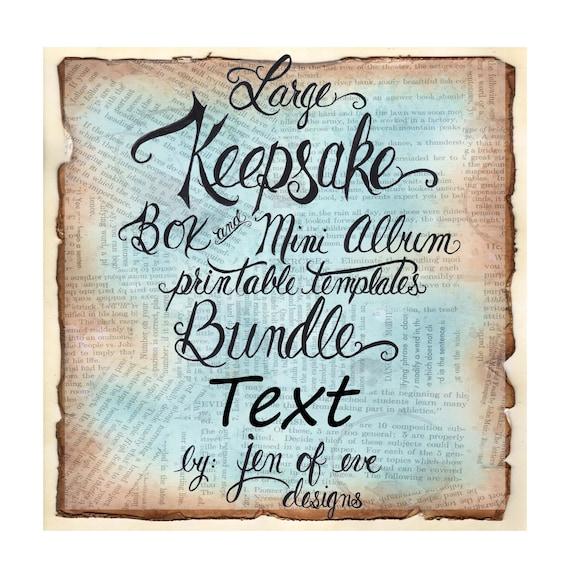 LARGE Keepsake Box & Mini Album Printable Template in Text and Plain
