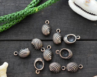 Antique Copper Snail Shell Charms, 10x16mm, 2pcs / Nunn Designs, Snail Shell Pendants, Nautical, Beach Charms, Sea Shell, Jewelry Supplies