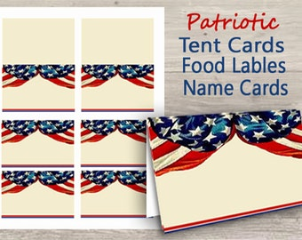 Patriotic Name Tags, Digital Place Cards, Printable, Buffet Table Cards, Digital Tent Cards, Dessert Buffet Cards, American Flag, Revolution