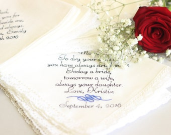 Wedding Gift For Parents-Mother Of Bride Handkerchief, personalized
