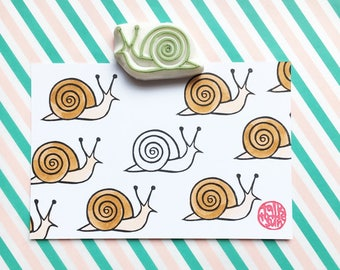 snail rubber stamp | woodland animal stamp | birthday card making | diy snail mail decor | craft gift for kids | hand carved by talktothesun