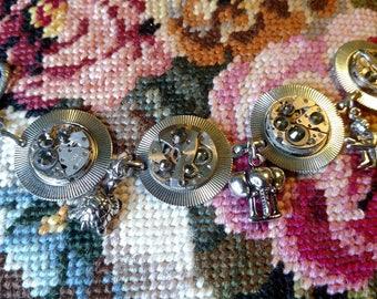 Unique One of a Kind Steampunk Animal Charm Bracelet with Swarovski Crystals