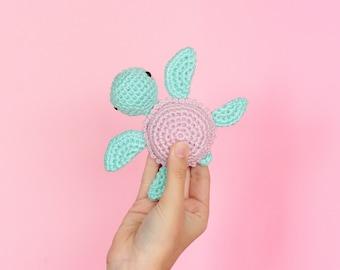 Baby rattle amigurumi turtle plush, Stuffed turtle crochet rattle, Sea turtle stuffed animal, Baby shower gift, Sensory toys, Baby gift