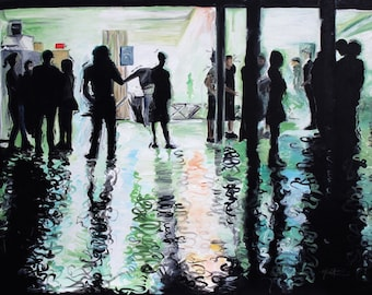 The Catacombs - 8x10 Art Print  - Abstract Crowd in Venue - Art by Marcia Furman