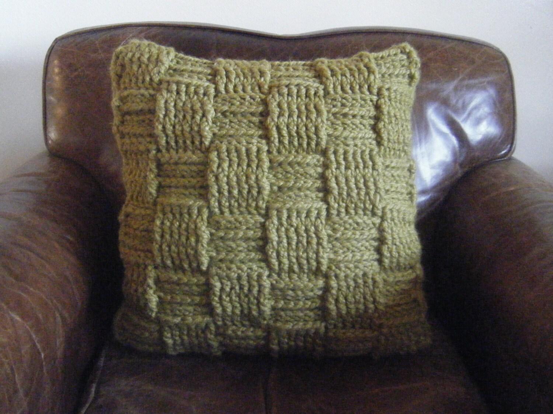 DIY Crochet Pattern: Basketweave pillow checkered woven