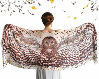 Hippie Clothes, Burning Man Clothing, Owl Scarf, Mothers Day Gift, Wing Scarf, Wedding Gift, Gift For Her, Animal Scarf, Owl Clothing