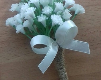1 x Artificial Gypsophilia (baby's breath)button hole with stems bound in rope and finished with a ivory satin bow