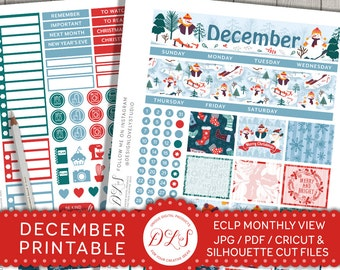 DECEMBER Planner Kit ECLP Printable Stickers Monthly Planner Winter Christmas Snowman Snowflakes Stocking Red Green Blue Cut Files MV112