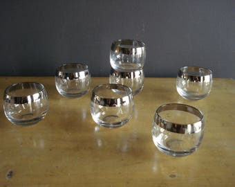 7 For Your Tonic and Gin - Vintage Set of 7 Small Dorothy Thorpe Style Roly Poly Barware Glasses