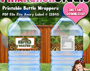 Printable Reptile Lizard Turtle Snake Party Water Bottle Label PDF File INSTANT DOWNLOAD Avery Durable Labels 22845