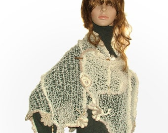 Knitted scarf, Womens Cream OOAK freestyle knitted scarf, wrap shawl with freeform crochet motifs