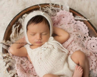 Baby Girl bonnet and romper, Knit Newborn Baby Bonnet, Asymetrical Bonnet,  Baby Alpaca, Photo Shoot Prop, Pearls, SUPER SOFT yarn